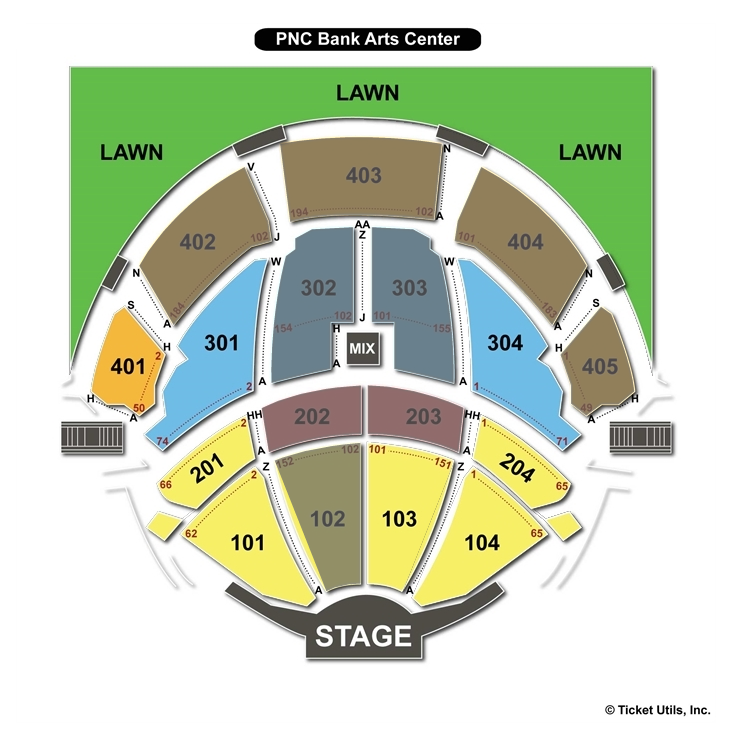 Pnc bank arts center seating chart